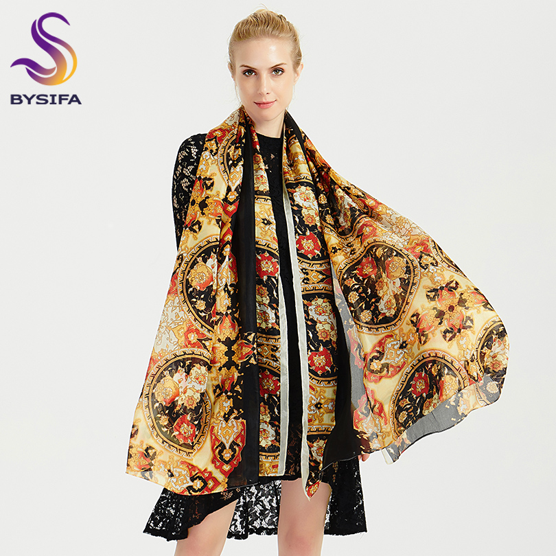 [BYSIFA] 2018 Winter Luxury Brand 100% Silk   Scarf   Shawl Women Fashion Black Gold Long   Scarves     Wraps   Summer Beach Shawl 200*110cm