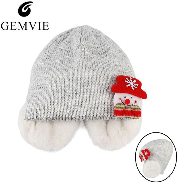a1ab96f8 Christmas Knitted Hats Skuillies Beanies For Men Women Winter Warm Wool  Knit Beanie Cap With LED Light Cute Earflap Hat