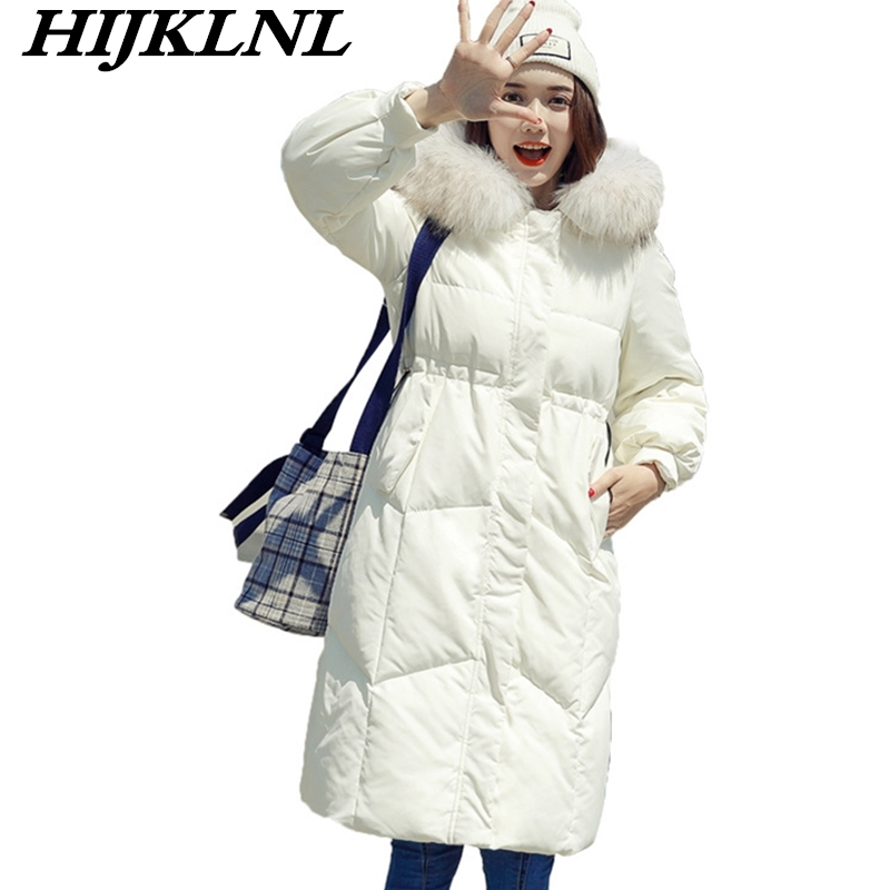 2019 New Hot Women Winter   Down     Coat   Loose Solid   Down   Jacket Women Thicken Hooded Fur Collar   Coat   Fashion Warm Outerwear CW077