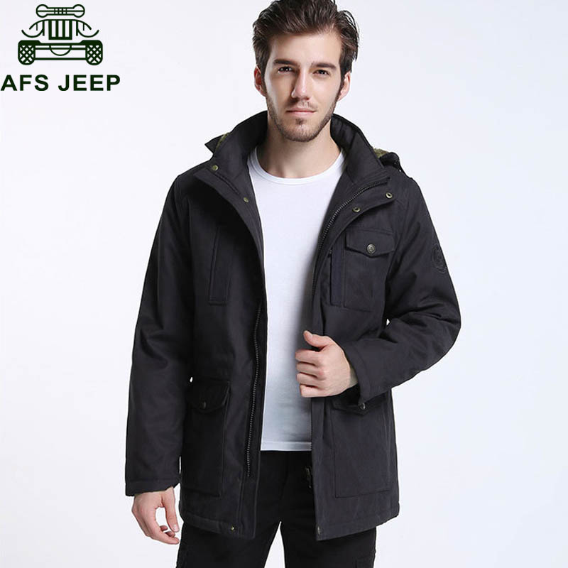 Afs JEEP Brand Winter   Parka   Men 2018 Casual Military Hooded Collar Wool Liner Thick Warm Windbreaker Winter Coat Men   parka   homme