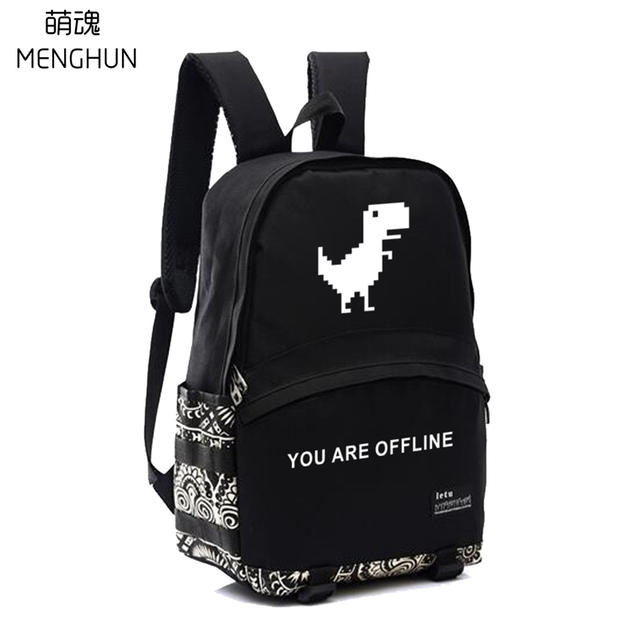 Geek backpacks Chrome game printing DinoChrome nylon backpacks programmer gift bags school backpack for students nb228 1