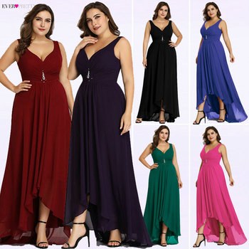 Plus Size Evening Dresses Long 2019 Elegant Burgundy A-line Sleeveless Crystal High Low Ever Pretty Special Occasion Dresses Evening Dresses