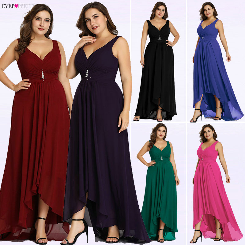 Plus Size Evening Dresses Long 2020 Elegant Burgundy A-line Sleeveless Crystal High Low Ever Pretty Special Occasion Dresses