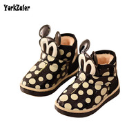 Yorkzaler Kids Girl Boy Snow Boots 2018 New Fashion Dots Cartoon Mouse Children Winter Shoes Baby