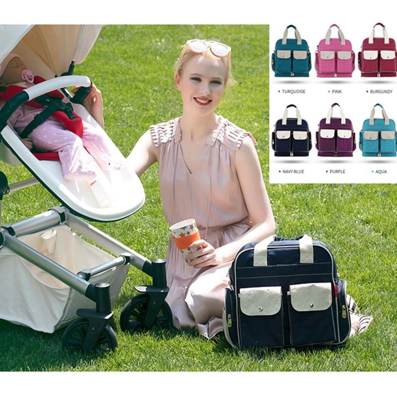 Mode momie maternité sac à langer poussette pendaison bébé sac grand sac d'allaitement pour bébé soin Nappy voyage sac à dos sac à main