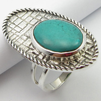 Turquoises December Birthstone Ring Size 6.75 Silver Stone Gift Unique Designed