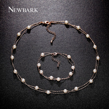 NEWBARK Love Imitation Pearl Jewelry Set Rose Gold Plated 2 Layers Necklaces Bracelets Charms Gift For Best Friends