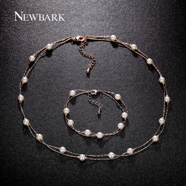 Newbark amor imitação de pérolas conjunto de jóias rosa banhado a ouro 2 camadas colares pulseiras encantos presente para melhores amigos