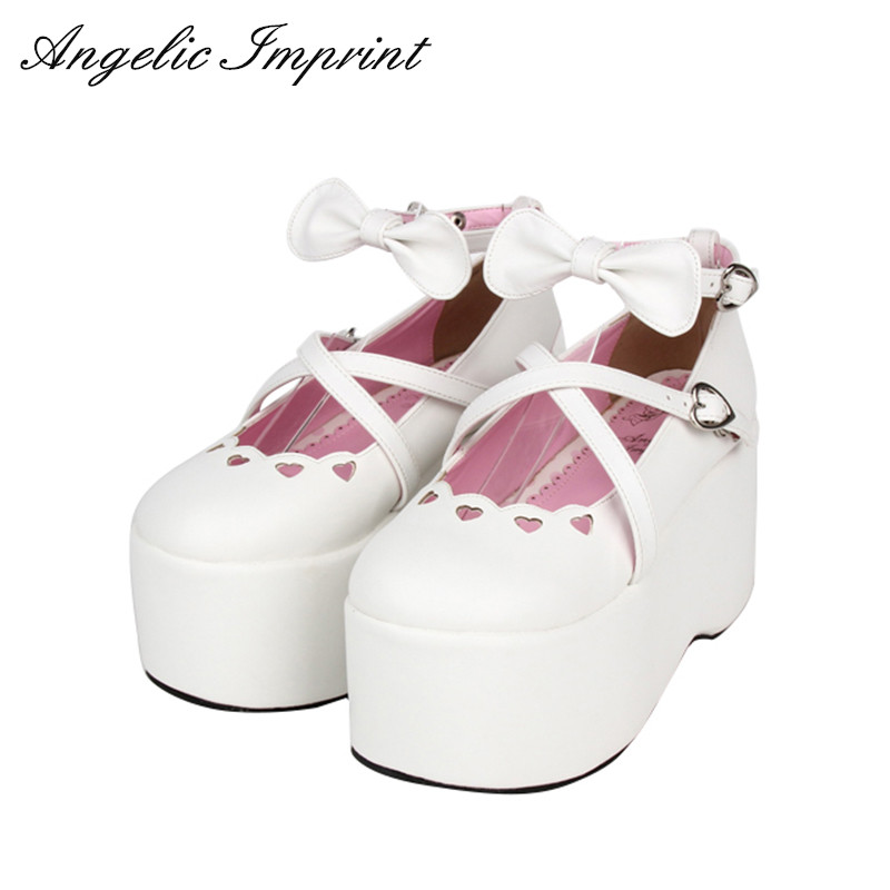Sweet Lolita Cosplay Cut Out Sweetheart Cross Strap Princess Girl Platform Shoes Strappy Bowknot Ankle Strap Shoes материнская плата пк msi a68hm p33 v2 a68hm p33 v2