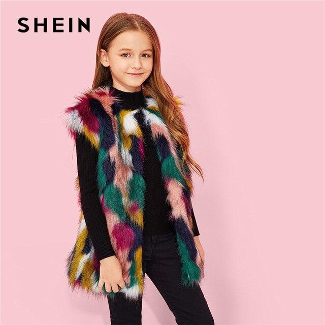 SHEIN Kiddie/разноцветная Повседневная жилетка из искусственного меха для девочек детская одежда 2019 г. зимняя уличная куртка без рукавов для детей, пальто для девочек