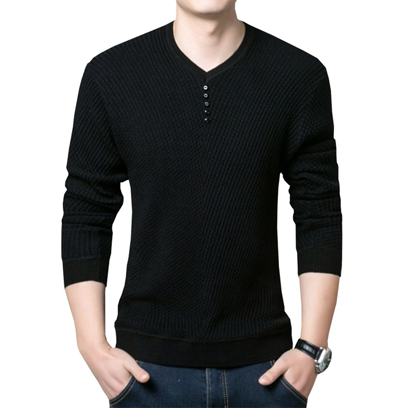 New Fashion Pullover Men V Neck Sweater Men Long Sleeve Sweaters Casual Brand Solid Color Sweater