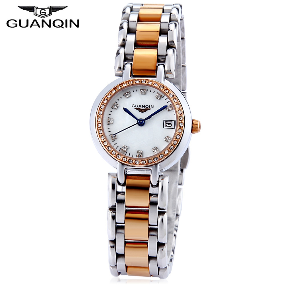 где купить  GUANQIN Women Quartz Watch Calendar Artificial Diamond Dial 10ATM Stainless Steel Band Wristwatch  по лучшей цене