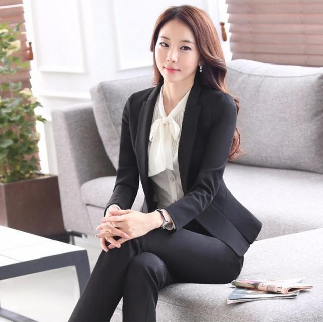 Novas Mulheres Casaco Calça Ternos Entrevista Formal Escritório Trabalho de Manga Comprida OL Fino Com Decote Em V de Negócios Blazer Terno Fino