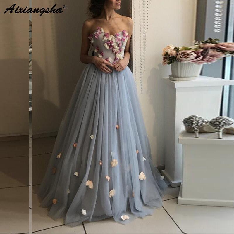 Robes de soirée longues à fleurs grises 2019 élégantes robes de soirée à fleurs bleu clair poussiéreux grande taille à lacets robe de soirée en Tulle