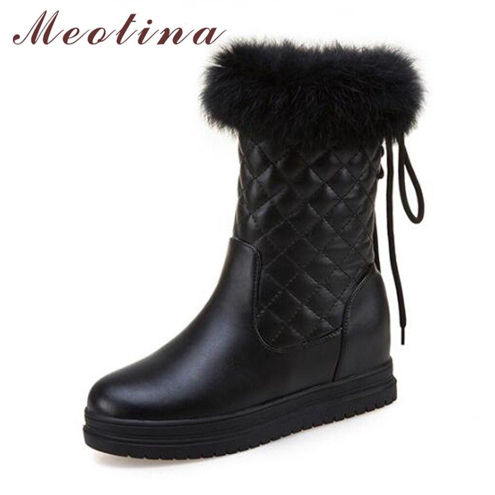 Meotina Snow Boots Mid Calf Boots Women Winter Platform Wedge Real Rabbit Fur Heel Boots Plush Warm Ladies Shoes Pink White 43