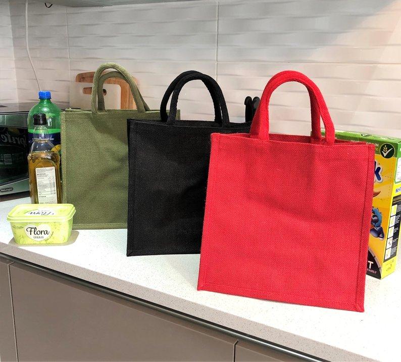 Linen Shopping Bag Reusable Bag Large Tote Grocery Bag Black Red Green Good Quality Flax Stereoscopic Bag