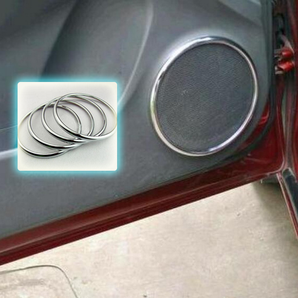 Interior Moulding Car Styling 4Pcs Chrome Audio <font><b>Speaker</b></font> Stereo Decorative Ring Cover for Chevrolet Cruze 09 10 11 12 13 <font><b>14</b></font> image