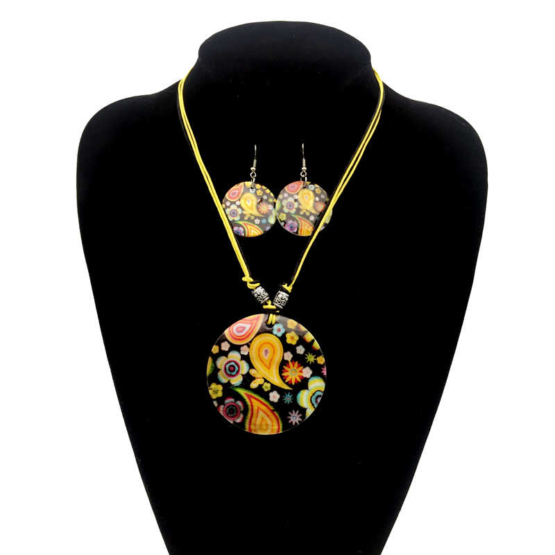 shell jewelry set for women female boho necklaces earrings muticolor botique choker bohemia maxi tribal black ethnic collar hot