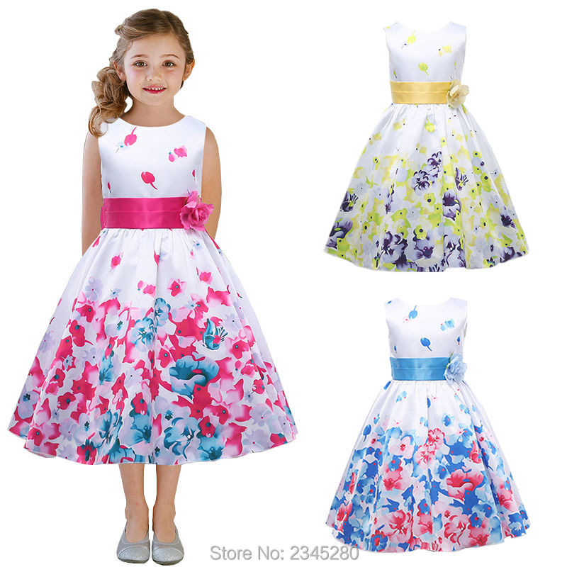 Dresses For Girls Clothes Carnival Costumes For The New Year Girls Fancy  Dress Child Party Flower Print Princess Kids 3 14 Years-in Dresses from  Mother ... 729c5dad16a6