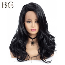 BCHR Long Wave 13*4 Lace Front Wig Black Synthetic Wigs for