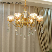 European style retro luxury crystal chandelier living room and bedroom restaurant American copper gold glass chandelier