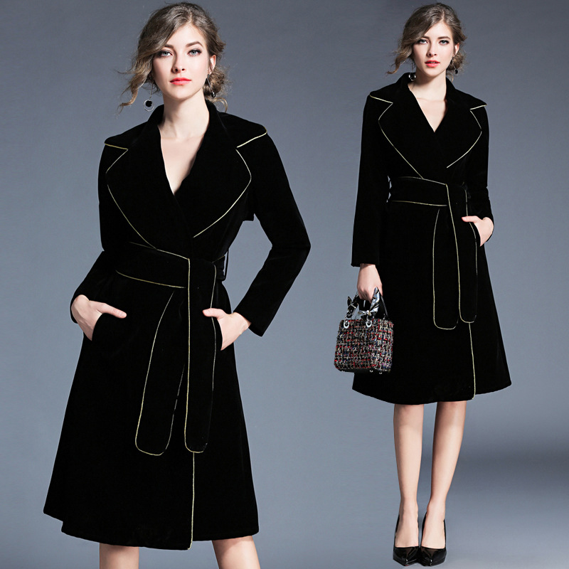 Winter Velvet   Trench   Coat Women Abrigo Mujer Long Elegant Notched Outwear Female Overcoat Slim Black Cardigan   Trench