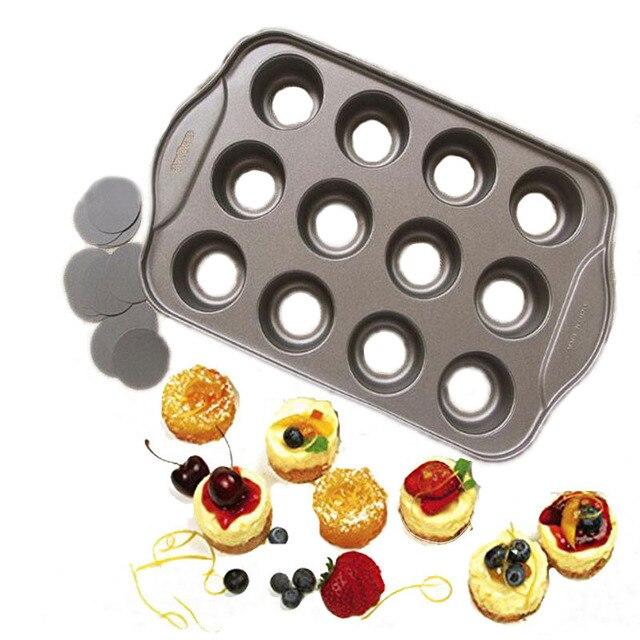 Антипригарная мини форма для чизкейков, 12 чашек съемный металлический круглый торт & Кекс & кексы форма для выпечки Десерт-выпечка инструмен...