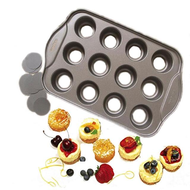 Антипригарным Мини ватрушка, 12 стаканов съемный металлический круглый торт и Кекс Маффин форма печи формы для выпечки Десерт-выпечка инстр...