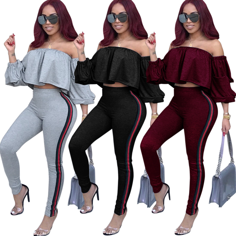 Off Shoulder Cascading Ruffles Sleeve Playsuit Crop Top Striped Print Pant 2 Piece Jumpsuit Women Elastic Waist Skinny Rompers