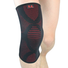купить 2 Pcs Kuangmi Elastic Knee Pads Wrap Support Brace Leg Arthritis Injury Sleeve Basketball Running Kneepads Protector Black Red по цене 1015.71 рублей
