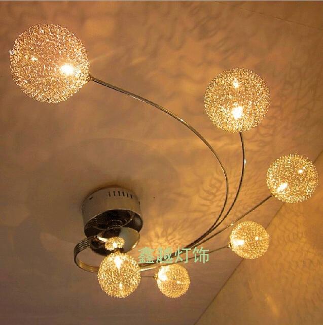 Modern LED Glass Ceiling Light Aluminium Abajur Ceiling Lamp Bedroom Lamparas De Techo G4 Living Room