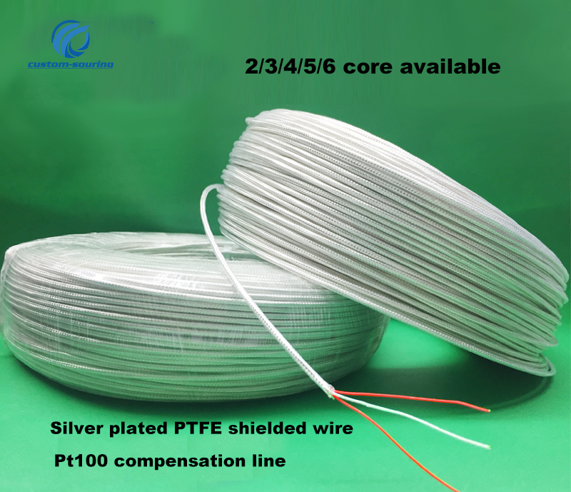 2M high temperature PT100 compensation <font><b>wire</b></font> PT100 PTFE silver plated shielded <font><b>wire</b></font> 2/3/<font><b>4</b></font>/5/6 <font><b>core</b></font> cable for sensor image