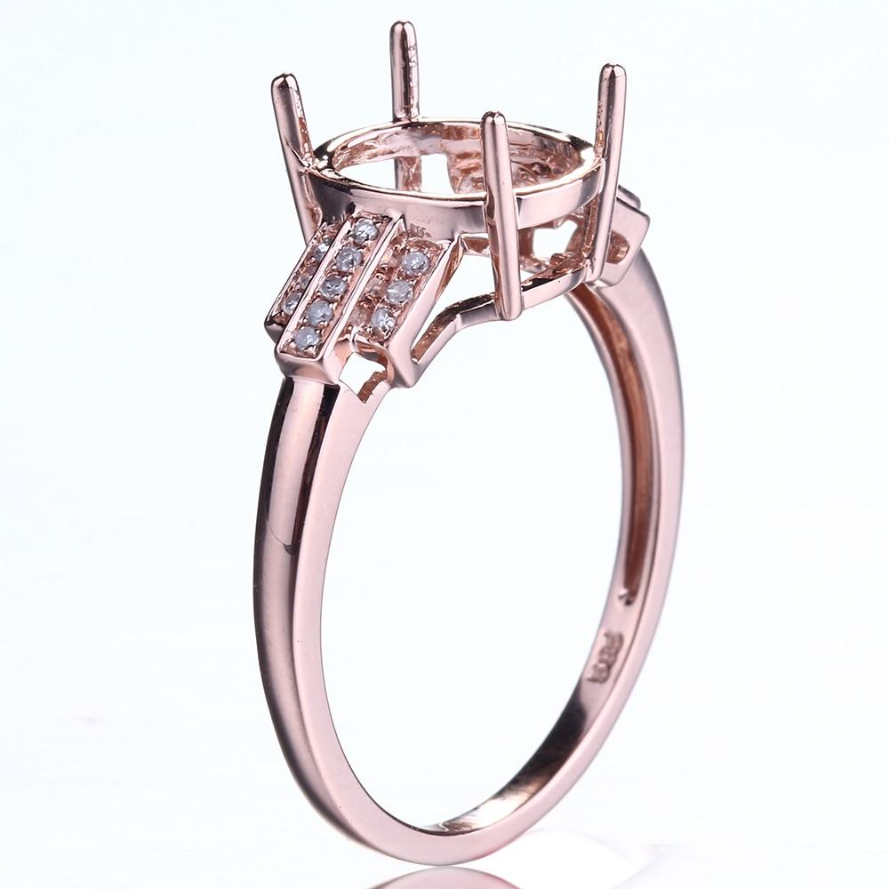 HELON Design spécial taille ovale 10x8mm solide 10K or Rose Pave diamant naturel bijoux fins fiançailles mariage Semi anneau de montage - 6