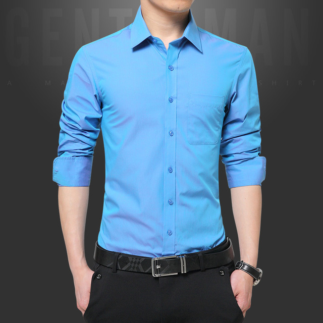 126ad13b2 Plus Size Men Shirt Long Sleeve Korean Clothing Fashion Turn-down Collar Solid  Chemise Homme