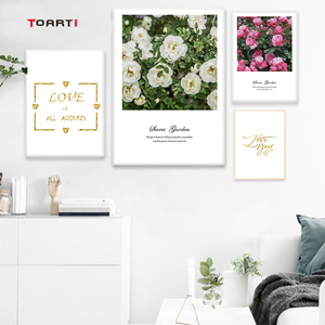 Image 2 - Nordic Flowers Posters Prints Pink Roses Canvas Painting On The Wall Love Quotes Art Pictures For Living Room Home Decoration