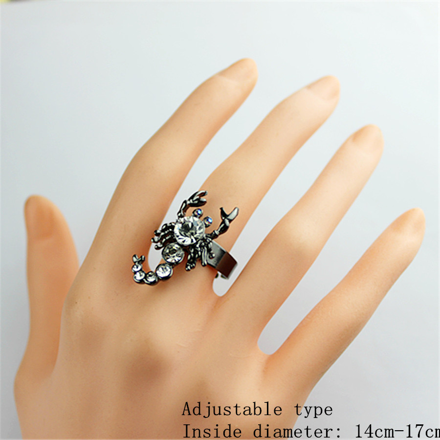 Black heat sells new fashion women's birthday party hip hop (scorpion) style adjustable ring for shipping SETS