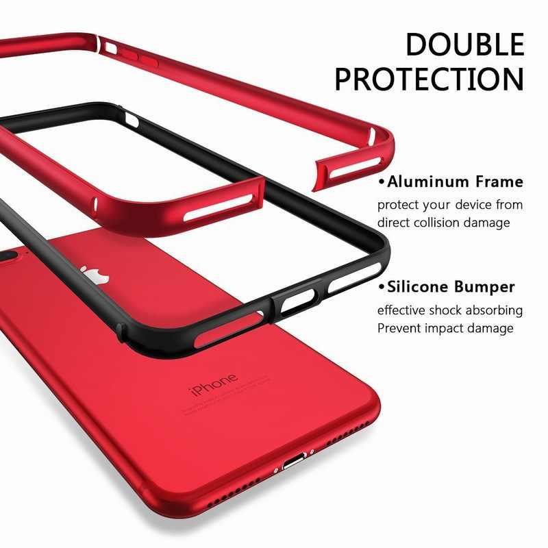 Ascromy iphone 8 ケースアルミ TPU シリコーンハイブリッド耐震バンパーケース iphone 7 プラス 8 8 プラス 7 プラス金属フレームバンパー
