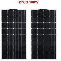 2pcs 100w פנל סולארי חצי גמיש 200W שמש מערכת פוטו פנל סולארי 12v סוללה/יאכטה /RV/רכב/סירת RU/ספרד המניה-בתאים סולריים מתוך מוצרי אלקטרוניקה לצרכנים באתר