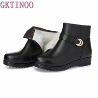 Snow Boots Genuine Leather Women S Shoes Mother Ladies Female Winter Wool Fur Wedges Warm Boots