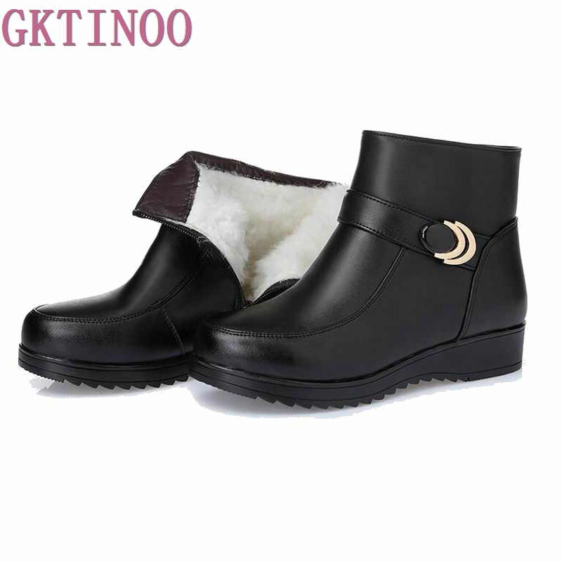 Snow Boots Genuine Leather Women's Shoes Mother Ladies Female Winter Wool Fur Wedges warm boots Plus Size35-43 bacia 2017 women winter boots casual super comfortable genuine leather boots female black warm wool fur shoes size 36 41 mb019