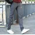 Estilo Americano europeo de algodón elástico pantalones de los hombres de alta calidad de la manera clásica añadir lana cremalleras stretch pantalones de los hombres rectos Y51