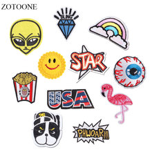 ZOTOONE Alien Flamingo Patch Letter Stickers Diy Iron on Clothes Heat Transfer Applique Embroidered Applications Cloth Fabric G