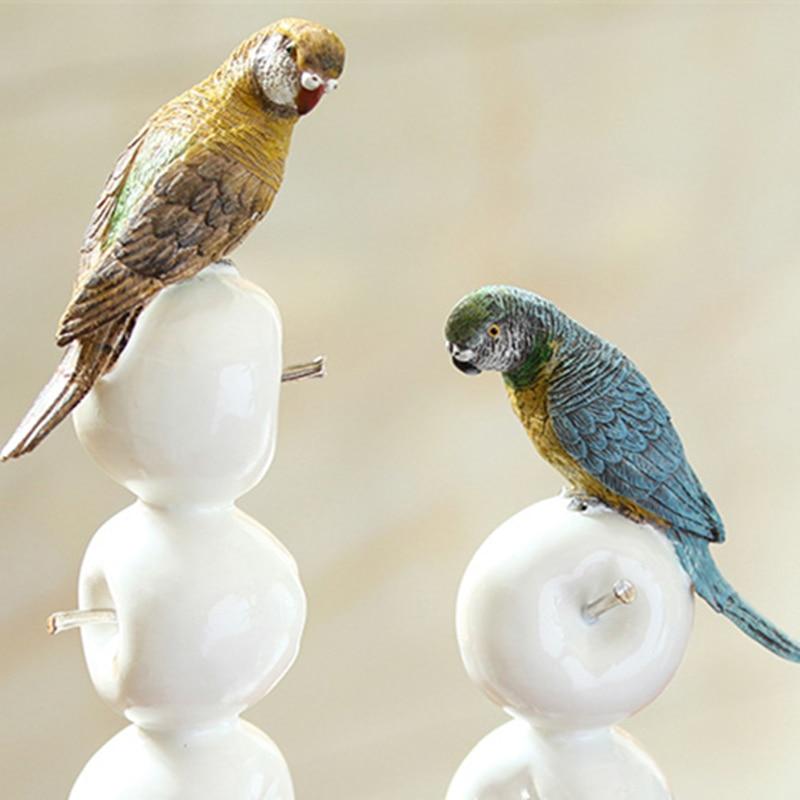 Chaud! Perroquet moderne Style européen jardin oiseau ornement Pop Art résine artisanat pomme Figurine Statue meilleur cadeau, livraison gratuite - 6