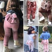 Модные штаны с бантом для маленьких девочек, милые длинные штаны из плюша, леггинсы, осенняя одежда