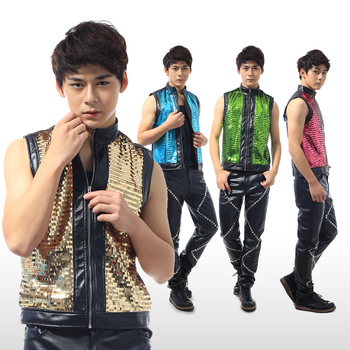 Korean youth men's fashion sequined slim vest Nightclub male singer hip hop performance show dancer stage costume