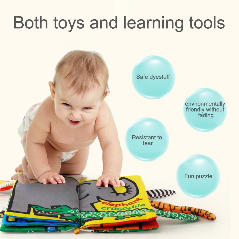 Baby Touch 3D Cloth Book Animal Tail Cloth Book For Baby Sensory Stimulation Newborn Early Childhood Educational Toys