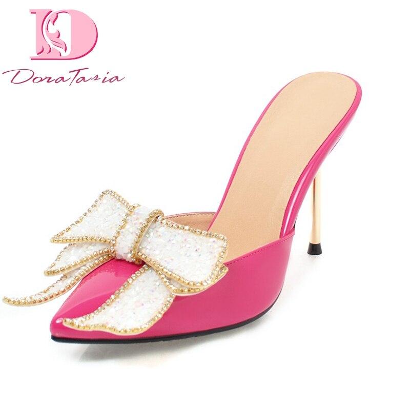 DoraTasia 2018 High Quality Bowtie Slip On Plus Size 32-43 Women Shoes Woman Thin High Heels Pumps Pointed Toe Mules Pumps Shoes стоимость