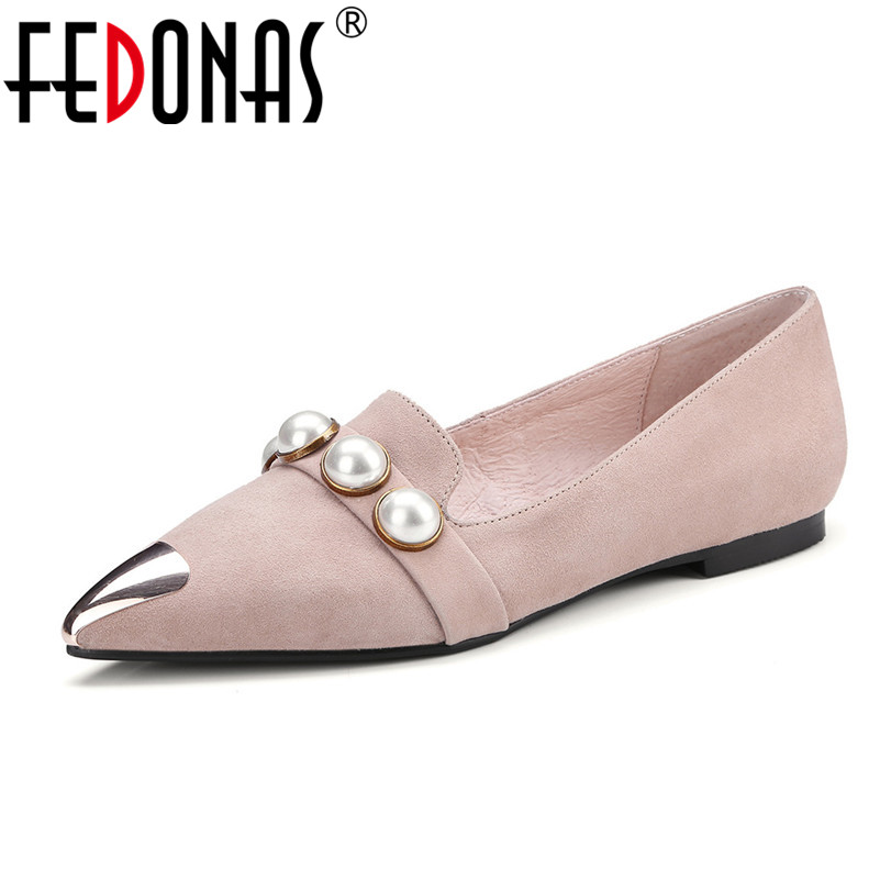 FEDONAS New Women Suede Flats Fashion Autumn Casual Pointy Toe Ballerina Ballet Flat Slip On Shoes Woman Work Shoes Flats odetina 2017 new designer lace up ballerina flats fashion women spring pointed toe shoes ladies cross straps soft flats non slip