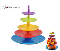 New Colorful Multifunction 5 Tier Plastic Cake Stand Snack And Cake Server Cupcake Stands Friut Holder