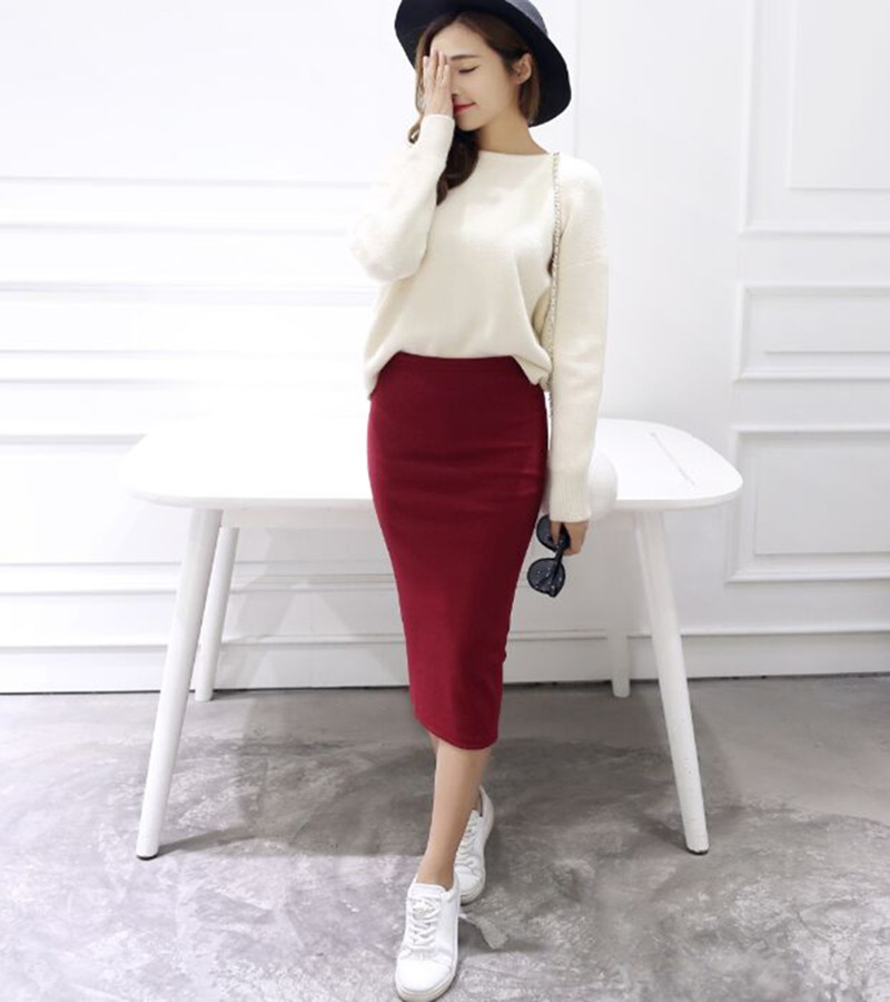 2016 Summer Skirts Sexy Chic Pencil Skirts Women Skirt Wool Rib Knit Long Skirt -3973